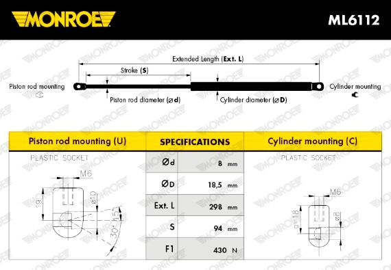 ML6112 MONROE Eject Force: 430N Length: 298mm, Stroke: 94mm Gas Spring, boot- / cargo area ML6112 cheap