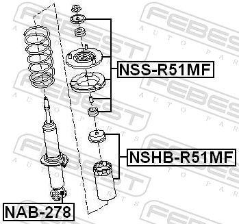 FEBEST | Lagerung, Stoßdämpfer NAB-278