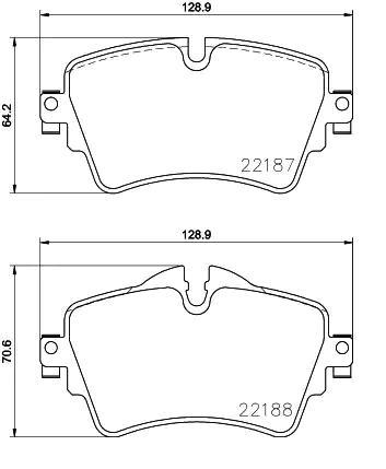 Origine Plaquette de frein BREMBO P 06 092 (Hauteur 1: 64,2mm, Hauteur 2: 70,6mm, Largeur: 128,9mm, Épaisseur: 18,3mm)