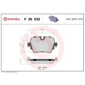 D17528980 BREMBO für Verschleißwarnanzeiger vorbereitet Höhe: 57,9mm, Breite: 104,4mm, Dicke/Stärke: 17,4mm Bremsbelagsatz, Scheibenbremse P 36 032 günstig kaufen