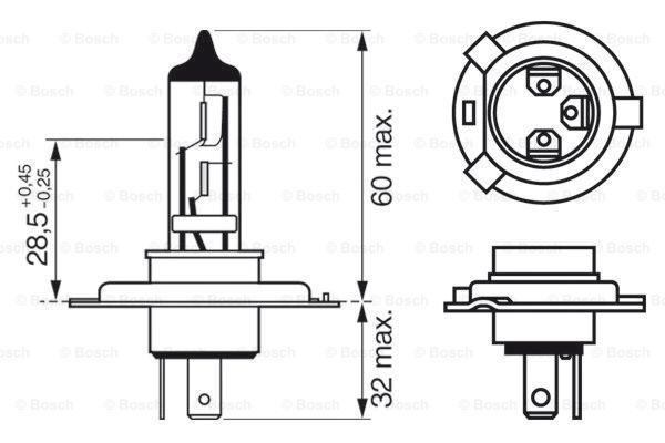 1987302042 Glühlampe, Fernscheinwerfer BOSCH H4 - Große Auswahl - stark reduziert