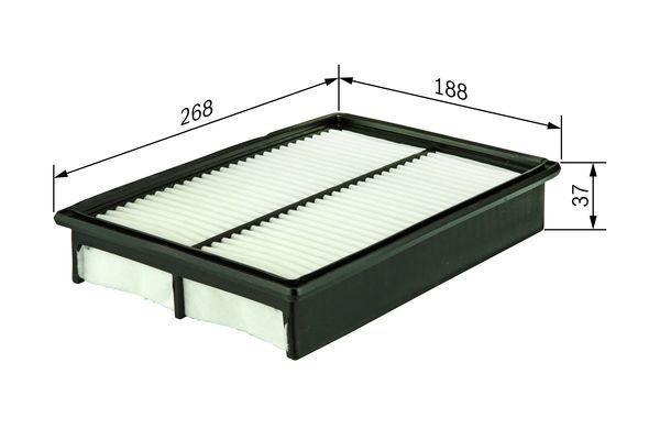 S9174 BOSCH Filtereinsatz Länge: 268mm, Länge: 268mm, Breite: 188mm, Höhe: 37mm Luftfilter 1 987 429 174 günstig kaufen