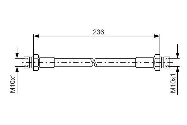 VW ILTIS 1986 Bremsschlauch - Original BOSCH 1 987 476 289 Länge: 236mm, Innengewinde: M10x1mm, Innengewinde 2: M10x1mm