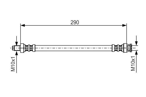 SMART FORTWO 2017 Rohre - Original BOSCH 1 987 476 688 Länge: 290mm, Außengewinde: M10x1mm, Innengewinde 2: M10x1mm