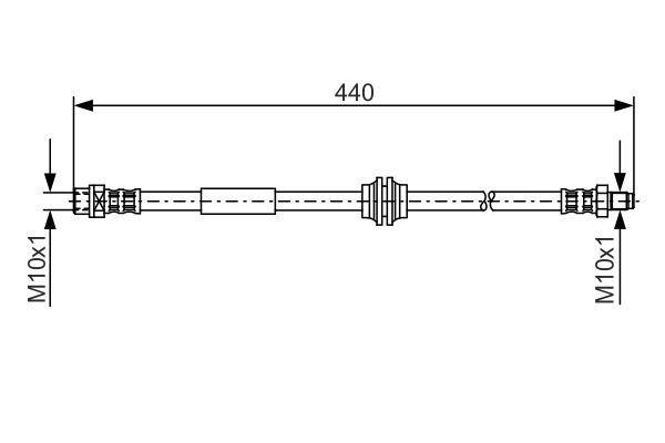 BOSCH: Original Bremsschläuche 1 987 476 808 (Länge: 415mm, Außengewinde: M10x1mm, Innengewinde 2: M10x1mm)