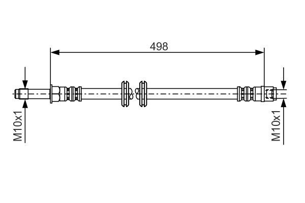 MERCEDES-BENZ VIANO 2016 Bremsschläuche - Original BOSCH 1 987 481 006 Länge: 498mm, Außengewinde: M10x1mm, Innengewinde 2: M10x1mm
