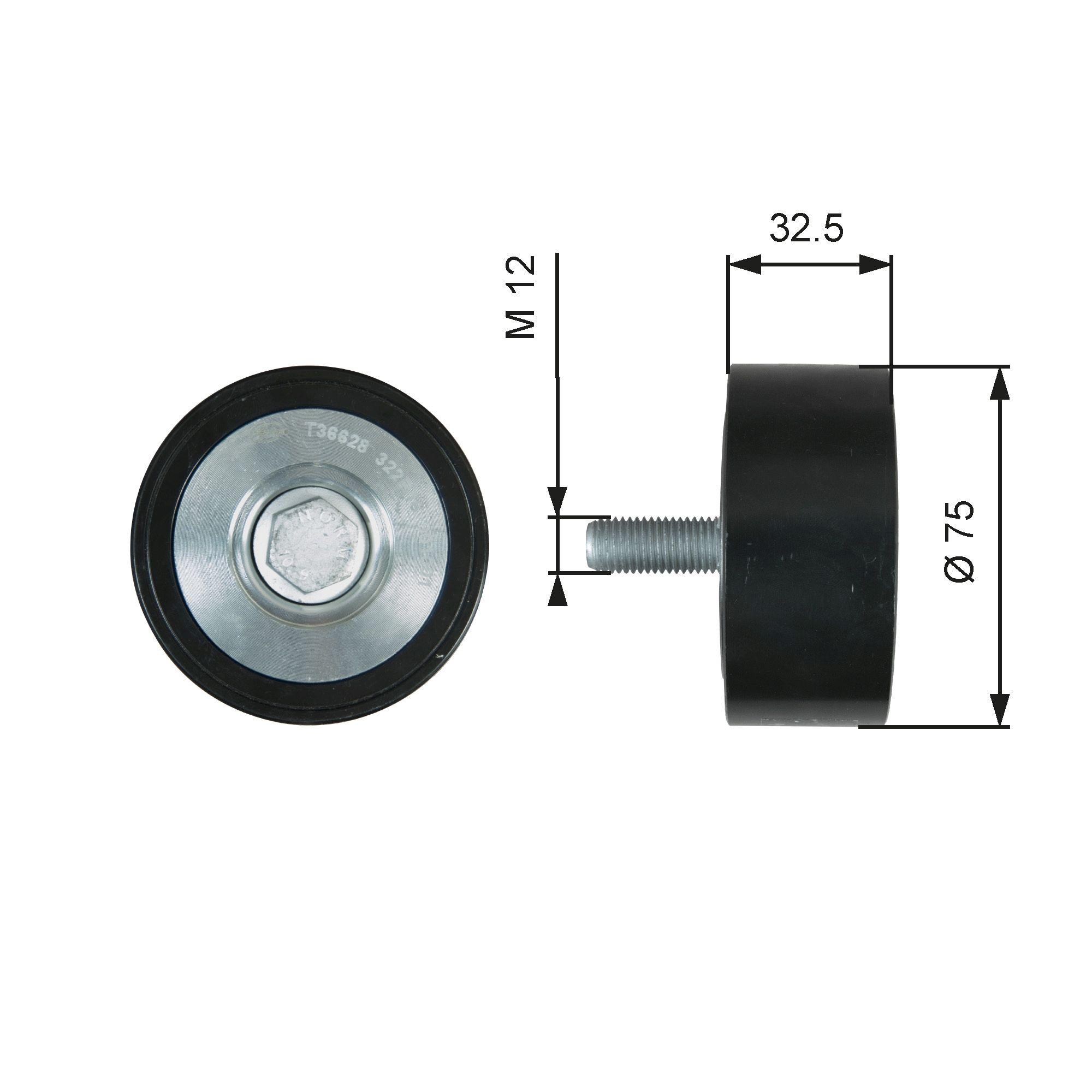 GATES Medløberhjul, multi-V-rem til MERCEDES-BENZ - vare number: T36628