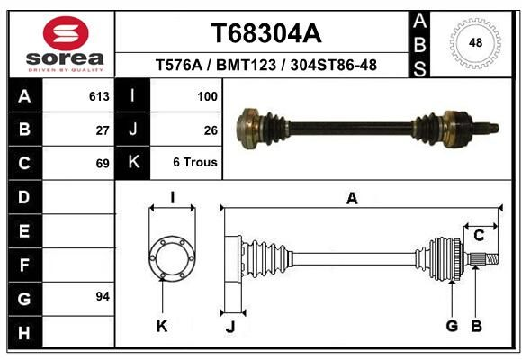 T68304A EAI Länge: 613mm, Außenverz.Radseite: 27, Zähnez. ABS-Ring: 48 Antriebswelle T68304A günstig kaufen