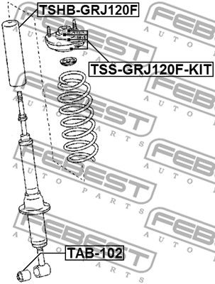 FEBEST | Supporto, Ammortizzatore TSS-GRJ120F-KIT