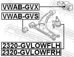 FEBEST | Lagerung, Lenker VWAB-GVX