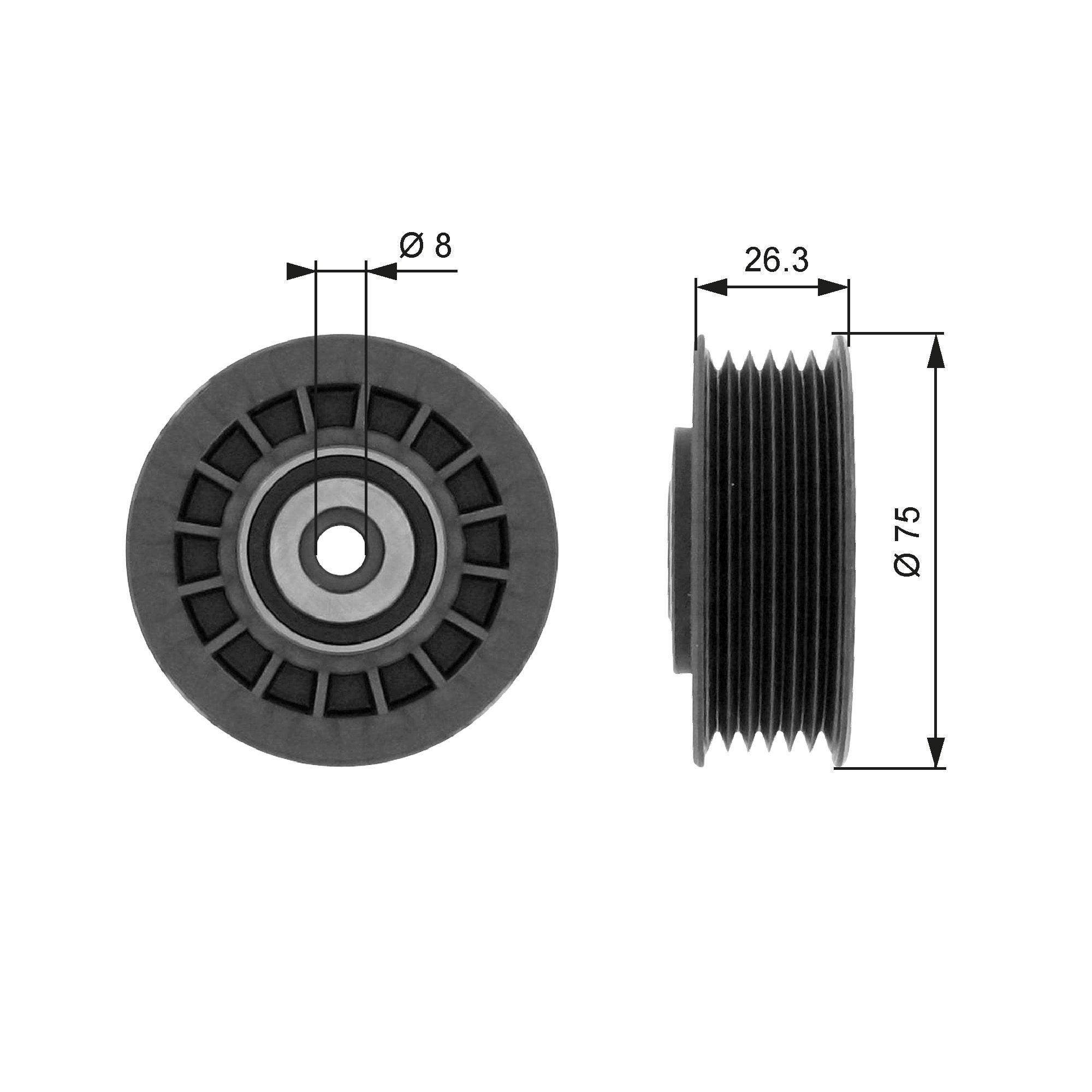 GATES Poulie renvoi / transmission, courroie trapézoïdale à nervures T38092