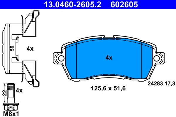 13.0460-2605.2 Bremssteine ATE in Original Qualität