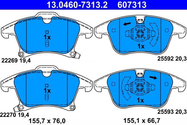 13.0460-7313.2 Bremssteine ATE in Original Qualität