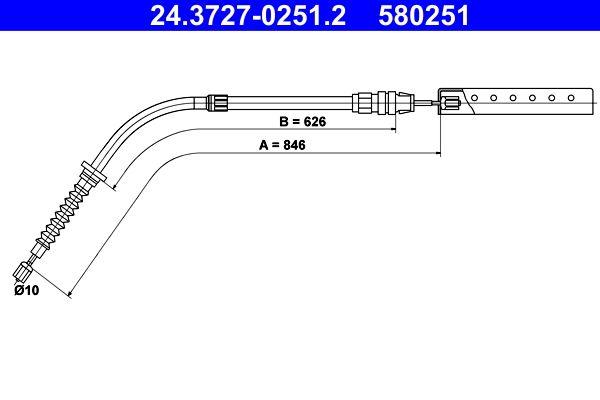 ATE: Original Bremszug 24.3727-0251.2 (Länge: 846mm)