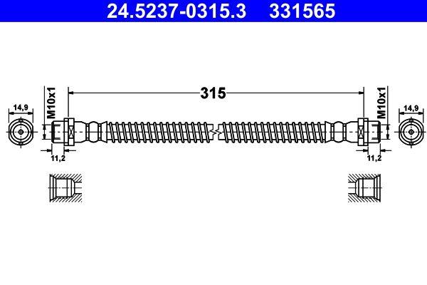 VW AMAROK 2016 Bremsschläuche - Original ATE 24.5237-0315.3 Länge: 315mm, Innengewinde 1: M10x1mm, Innengewinde 2: M10x1mm
