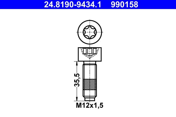 Bolt, brake disc 24.8190-9434.1 ATE — only new parts