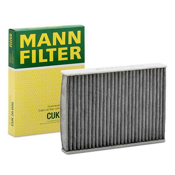 Køb CUK 26 006 MANN-FILTER Aktivkulfilter Breite: 182mm, Höhe: 35mm, Länge: 254mm Kabineluftfilter CUK 26 006 billige