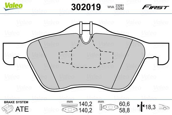 Bremsbelagsatz VALEO 302019