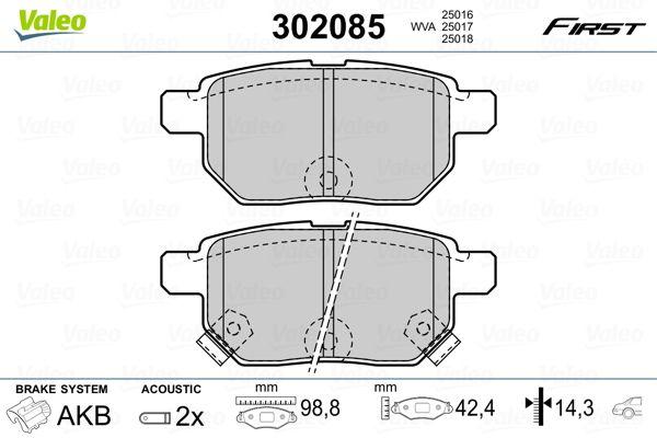 Buy original Disk brake pads VALEO 302085