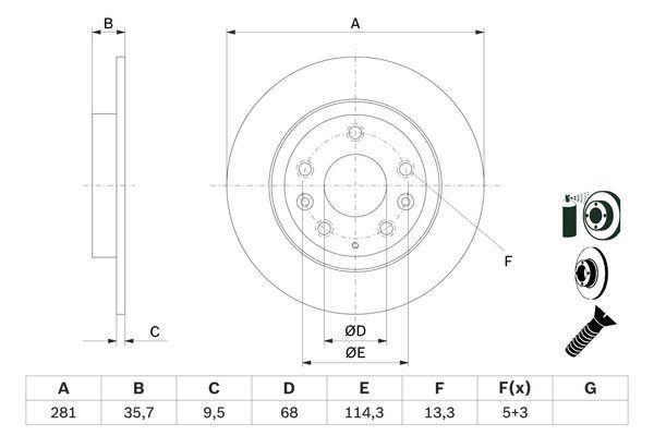 MAZDA CX-3 2015 Sport-Bremsscheiben - Original BOSCH 0 986 479 E55 Ø: 281mm, Lochanzahl: 5, Bremsscheibendicke: 9,5mm