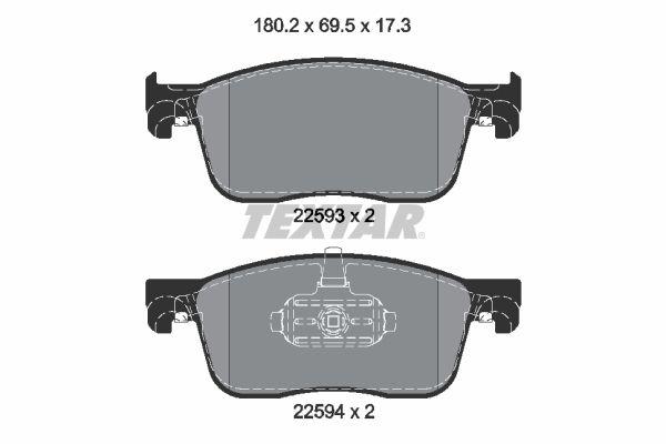Bremsbelagsatz Scheibenbremse OPEL Zafira Life (K0) hinten + vorne 2020 - TEXTAR 2259301 (Höhe: 69,5mm, Breite: 180,2mm, Dicke/Stärke: 17,3mm)