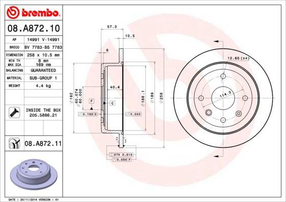 CHEVROLET LACETTI 2015 Bremsscheibe - Original BREMBO 08.A872.11 Ø: 258mm, Lochanzahl: 4, Bremsscheibendicke: 10,5mm