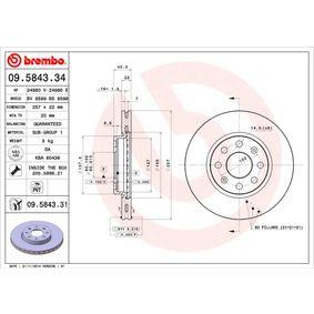 BREMBO 09.9574.41 Rotori Disco Freno per Veicoli