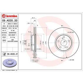 09.A535.21 BREMBO COATED DISC LINE Ventilación interna, revestido Ø: 275mm, Núm. orificios: 5, Espesor disco freno: 22mm Disco de freno 09.A535.21 a buen precio