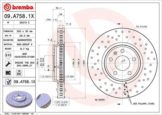 09.A758.1X Dischi dei Freni BREMBO esperienza a prezzi scontati