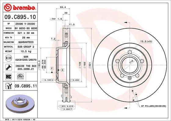09.C895.11 Bremsscheibe BREMBO in Original Qualität