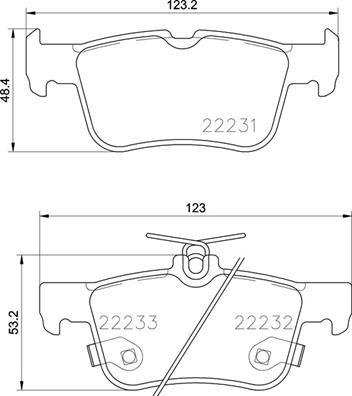 Bremssteine FORD Mondeo Mk5 Schrägheck (CE) hinten + vorne 2018 - BREMBO P 24 201 (Höhe 1: 48mm, Höhe 2: 53mm, Breite: 123mm, Dicke/Stärke: 16mm)