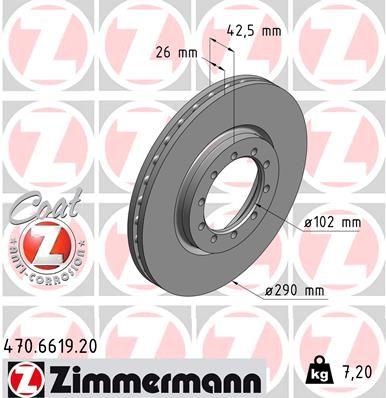 470.6619.20 ZIMMERMANN COAT Z belüftet, beschichtet Ø: 290mm, Felge: 5-loch, Bremsscheibendicke: 26mm Bremsscheibe 470.6619.20 günstig kaufen