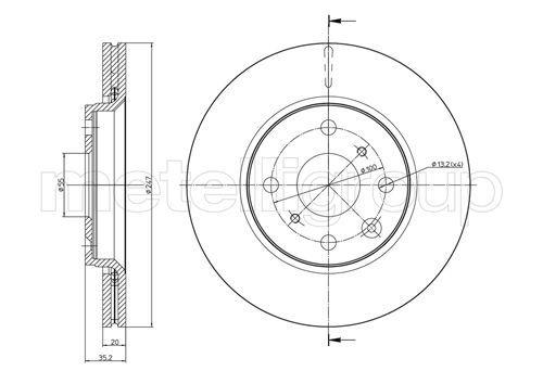 23-0834C METELLI belüftet Ø: 247,0mm, Lochanzahl: 4, Bremsscheibendicke: 20,0mm Bremsscheibe 23-0834C günstig kaufen