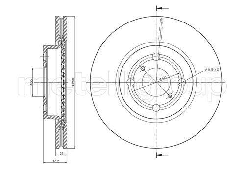 23-0879C METELLI belüftet Ø: 258,0mm, Lochanzahl: 4, Bremsscheibendicke: 22,0mm Bremsscheibe 23-0879C günstig kaufen