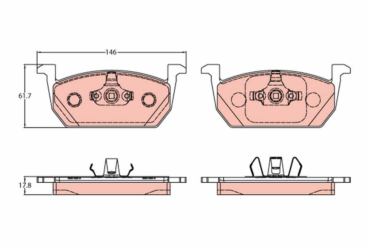 22631 TRW nicht für Verschleißwarnanzeiger vorbereitet Höhe: 61,7mm, Dicke/Stärke: 17,8mm Bremsbelagsatz, Scheibenbremse GDB2159 günstig kaufen