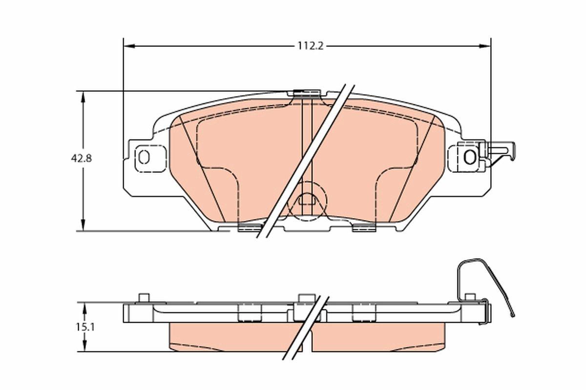 22333 TRW mit akustischer Verschleißwarnung Höhe: 42,8mm, Dicke/Stärke: 14,5mm Bremsbelagsatz, Scheibenbremse GDB2163 günstig kaufen