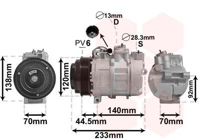 3000K277 VAN WEZEL PAG 46, Kältemittel: R 134a, Anschluss seitlich Riemenscheiben-Ø: 120mm, Anzahl der Rillen: 6 Klimakompressor 3000K277 günstig kaufen