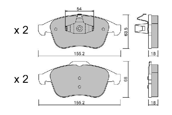 D1765 AISIN exkl. Verschleißwarnkontakt Höhe 1: 63,5mm, Höhe 2: 68mm, Breite 1: 155,2mm, Breite 2: 155,2mm, Dicke/Stärke 1: 18mm, Dicke/Stärke 2: 18mm Bremsbelagsatz, Scheibenbremse BPRE-1019 günstig kaufen