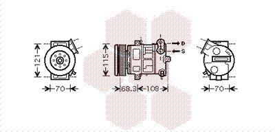 VAN WEZEL Kompressori, ilmastointilaite 3700K418