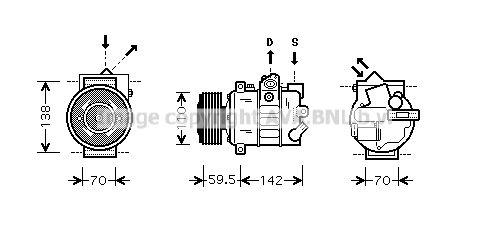 VNK220 PRASCO PAG 46, Kältemittel: R 134a Riemenscheiben-Ø: 110mm Klimakompressor VNK220 günstig kaufen