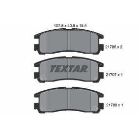 7272D383 TEXTAR mit akustischer Verschleißwarnung Höhe: 40,9mm, Breite: 107,8mm, Dicke/Stärke: 15,5mm Bremsbelagsatz, Scheibenbremse 2170602 günstig kaufen