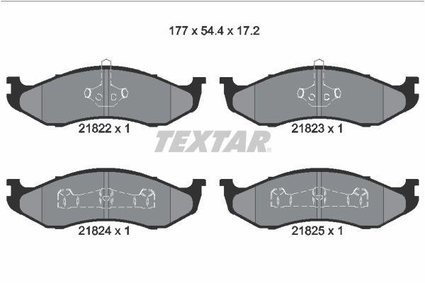 JEEP COMANCHE 1990 Bremsklötze - Original TEXTAR 2182202 Höhe: 54,4mm, Breite: 177mm, Dicke/Stärke: 17,2mm