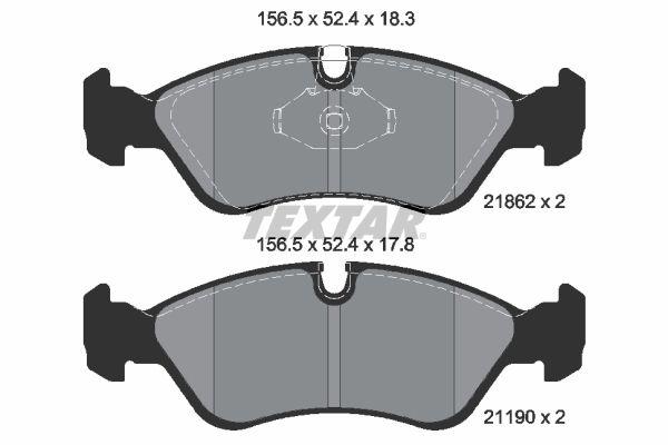 7666D796 TEXTAR für Verschleißwarnanzeiger vorbereitet Höhe: 52,4mm, Breite: 156,5mm, Dicke/Stärke: 18,3mm Bremsbelagsatz, Scheibenbremse 2186201 günstig kaufen