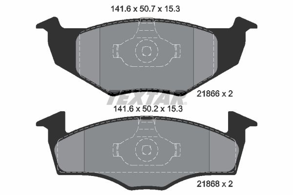 Bremsbelagsatz VW Polo Playa hinten + vorne 2002 - TEXTAR 2186601 (Höhe 1: 50,7mm, Höhe 2: 50,2mm, Breite 1: 141,6mm, Breite 2: 141,6mm, Dicke/Stärke: 15,3mm)