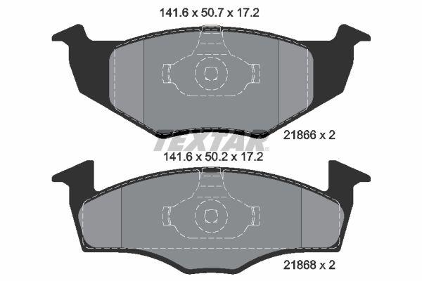 8702D694 TEXTAR nicht für Verschleißwarnanzeiger vorbereitet Höhe 1: 50,7mm, Höhe 2: 50,2mm, Breite 1: 141,6mm, Breite 2: 141,6mm, Dicke/Stärke: 17,2mm Bremsbelagsatz, Scheibenbremse 2186602 günstig kaufen