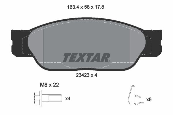 FORD USA THUNDERBIRD 2002 Bremssteine - Original TEXTAR 2342301 Höhe: 58mm, Breite: 163,4mm, Dicke/Stärke: 17,8mm