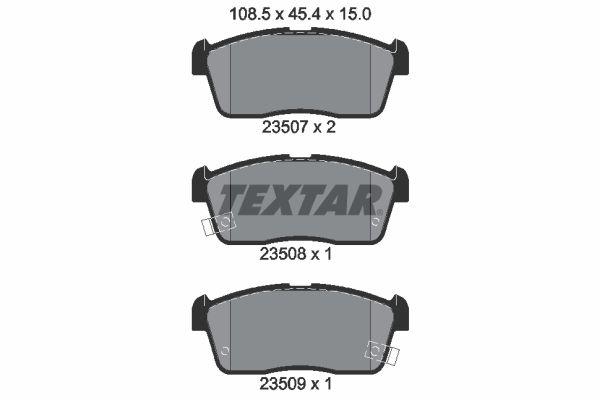 DAIHATSU YRV 2014 Bremsbelagsatz - Original TEXTAR 2350701 Höhe: 45,4mm, Breite: 108,5mm, Dicke/Stärke: 15mm