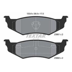 7650D782 TEXTAR exkl. Verschleißwarnkontakt Höhe: 39,9mm, Breite: 133,6mm, Dicke/Stärke: 17mm Bremsbelagsatz, Scheibenbremse 2356102 günstig kaufen