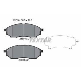 7766D888 TEXTAR mit akustischer Verschleißwarnung Höhe: 58,3mm, Breite: 157,3mm, Dicke/Stärke: 16mm Bremsbelagsatz, Scheibenbremse 2369801 günstig kaufen