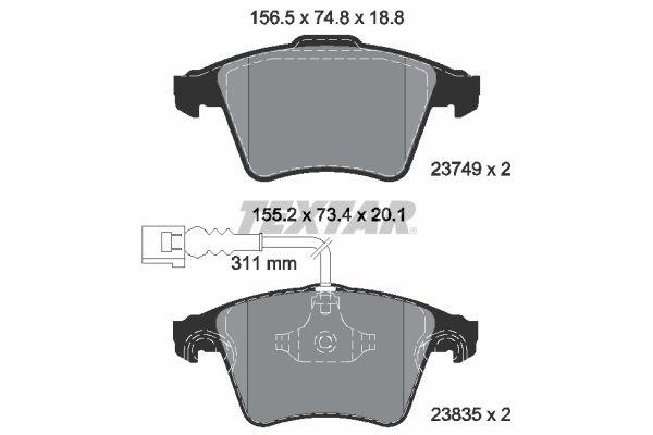 8287D1174 TEXTAR mit integriertem Verschleißsensor Höhe 1: 74,8mm, Höhe 2: 73,4mm, Breite: 156,5mm, Dicke/Stärke 1: 18,8mm, Dicke/Stärke 2: 19,8mm Bremsbelagsatz, Scheibenbremse 2374901 günstig kaufen